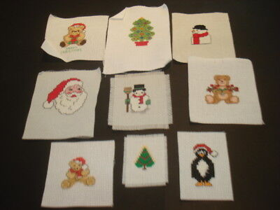 BUNDLE of NINE Little XMAS Stitched Completed PICTURES Ready to Frame CUTE!