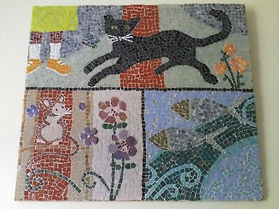 Mosaic Picture of Black Cat, Mouse and Fish, handmade original