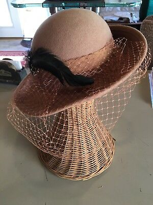 Lancaster Womens Hat 100% wool Vintage Feather Bow Net Made In USA