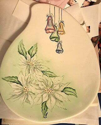 Vtg Teardrop Large Thick Platter Signed Evans Hand Painted Christmas Poinsettias