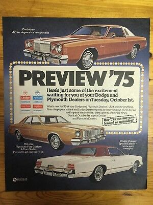 Stunning Canadian Car Ad Canada 1975 Dodge  Charger Plymouth Fury  Cordoba