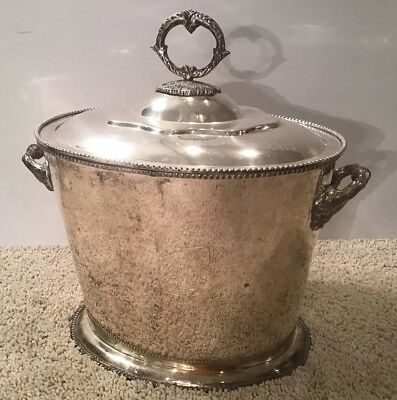 Vintage Silver Ice or Champagne Bucket with Leaf Handles and Lid