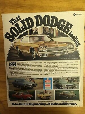 Stunning Canadian Car Ad Canada 1974 Dodge Charger Monaco Coronet Challenger