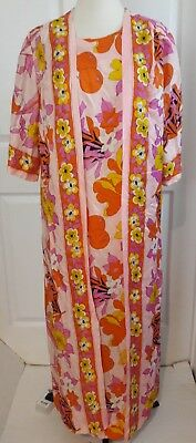 Vintage Fifth Avenue robe womens 60s 70s floral bright pink print hippie Large L