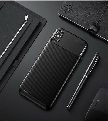 For Apple iPhone XS Max XR Matte Frosted Protective TPU Cover Carbon Fiber Case