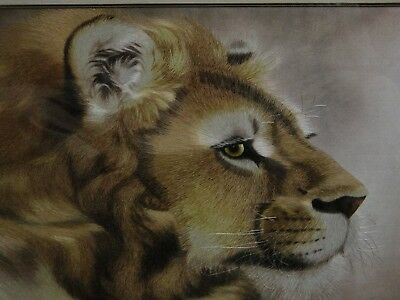 Silk picture hand embroidery, majestic lion, magnificent work, framed with glass
