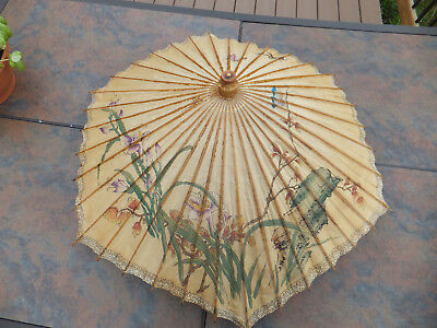 Vintage Chinese Lacquered Bamboo & Rice Paper Umbrella Parasol Butterfly Flower