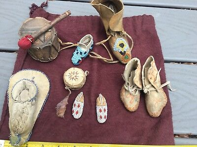 Lot of beaded 19th Century artifacts, drums and moccasins