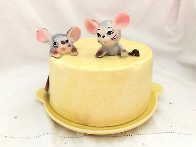 Vintage Ceramic MOUSE Mice In CHEESE BLOCK Covered Dish Anthropomorphic