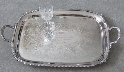 ANTIQUE SILVER PLATE TRAY LARGE Heavy Quality