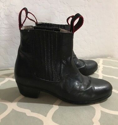 Boys Leather Boots Botin Dance Folklorico Nail Heel and Tip 22 1/2 3.5 4  $81