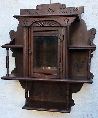 Antique Victorian Eastlake Carved Wall Curio Cabinet Beveled Glass Door 4 Shelf