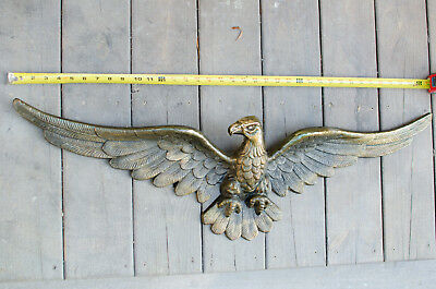 Vintage 3ft Brass American Eagle Plaque Wall Hanging Head Turned Right A.V #4157