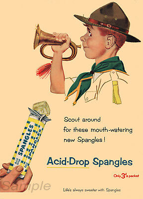 Vintage Spangles Acid Drop Sweets Advertising A3 Poster Print