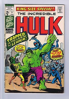 Incredible Hulk Vol 2 King Size Annual #3 1970 In Fine++  Condition The Leader
