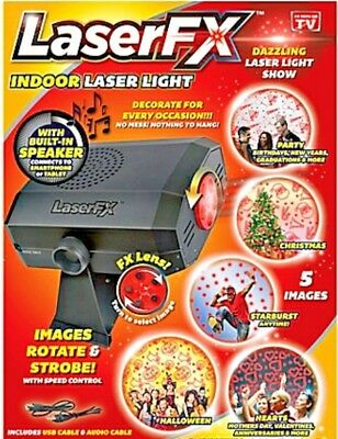 NIB- LaserFX Indoor Laser Light Show with Built-In Speaker- Free Shipping!