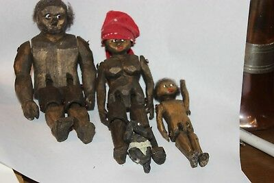 Hand Carved Jointed African American Family Wood Dolls