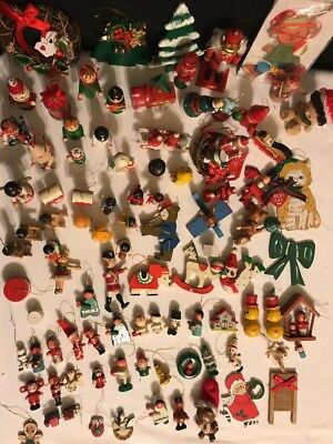 Lot Of Vintage Wooden Ornaments From The 80's Nutcracker Train Santa More