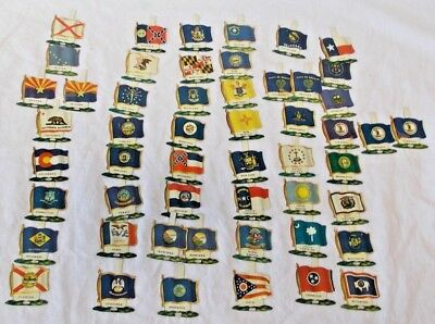 Vintage Tin Litho State Flags - Set Of 52 -Nabisco Shredded Wheat Cereal Premium