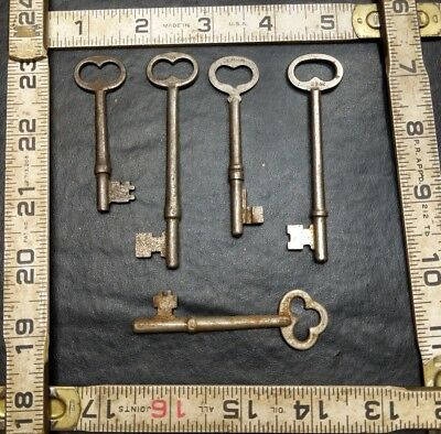 Lot Of 5 Antique Vintage Skeleton Keys Mortise Door Locks