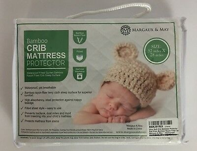 "Margaux & May Bamboo Waterproof Crib Mattress Protector Fitted 52"" x 28"""