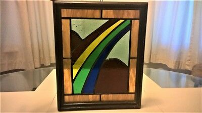 "Vintage Rainbow Leaded Stained Glass with Wood Frame 9 1/4"" wide x 11 1/4"" tall"
