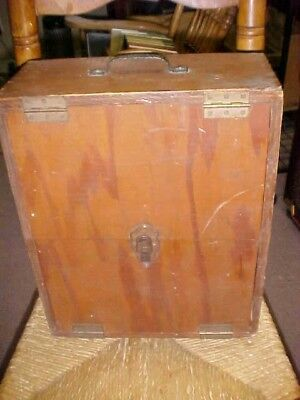 Antique Vintage Wooden Box Travel Desk Rare Mirrored Top Handmade 13 X 16 Inches