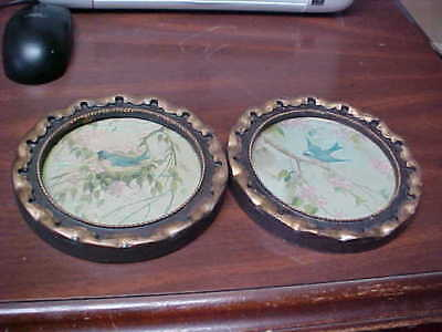 Pair Of Antique Vintage Blue Bird Prints Small Round Very Old 6 Inches Diameter
