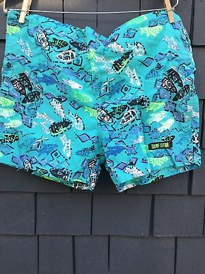 Vintage Vaporwave Neon Rave Surf Gear 1980s Swum Trunks Shorts M