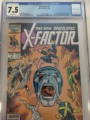 X-Factor #6 CGC 7.5 (July, 1986) White Pages 1st full Apocalypse Key X-Men Book
