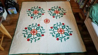 Antique Hand Stitched Quilt with Lovely Green, Orange & Red Flower Circles