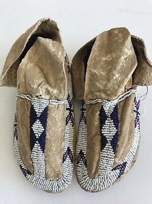 Northern Plains Native American Child's Moccasins c. 1890