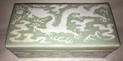 Antique - Chinese Pale Celadon Glazed Imperial Dragon Rectagular Box