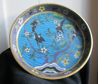 Antique 18th Century Chinese Qing Dynasty gilt Cloisonne dish BOWL w BIRDS &Tree