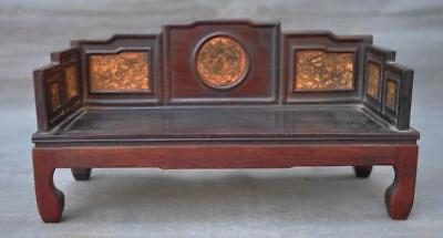 old Chinese Redwood wood carving Antiquity rest sleep Furniture bed statue