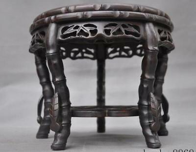 A China Huanghuali Wood carved leaf statue Stool Bench Chair Footstool Statue