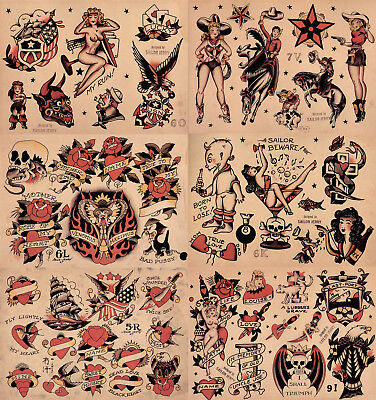 "Sailor Jerry Traditional Tattoo Flash 6 Sheets 11x14"" Set 3 Skulls Hearts Eagles"