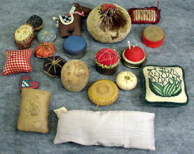 Lot Of 20--Misc  Antique Pin Cushions--Round--Square--Rectangle Needle Holders