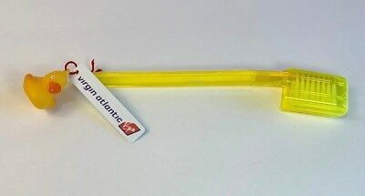 VIRGIN ATLANTIC Rubber Ducky TOOTHBRUSH w/ Logo Tag Airlines In-flight 1st Class
