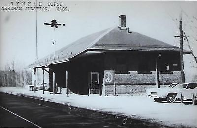 Needham Junction, Massachusetts Railroad Depot Real Photo Postcard- RPPC