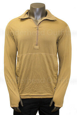 USMC Polartec GRID FLEECE 1/2 Zip FROG Pullover TAN M MEDIUM REGULAR VGC
