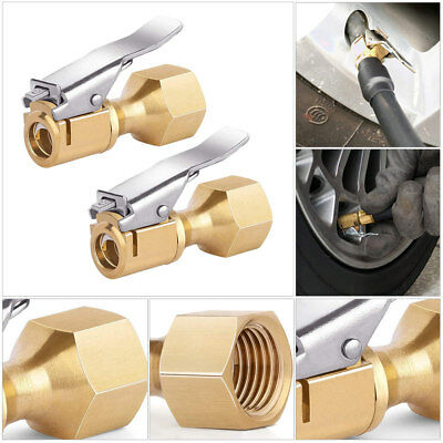 2×Universal Car SUV Tire Inflator Open Flow Straight Lock-On Air Chuck with Clip