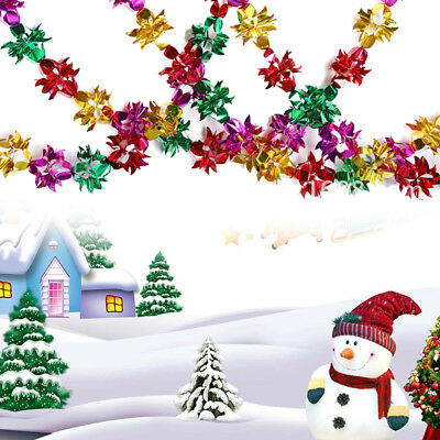 Christmas Colorful Foil Garland Ornaments Home Ceiling Xmas Wedding Party Decor