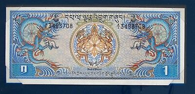 Bhutan Note 1986 One Ngultrum Gem Unc With  Cancelled Stamps 7208