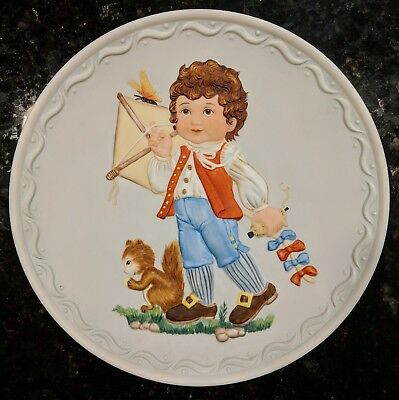 Franklin Mint Collectible Plate Cobblestone Kids 1982: Testing the Wind