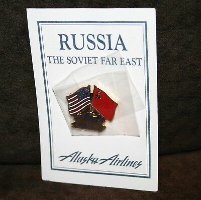 ALASKA AIRLINES VINTAGE RUSSIA SOVIET FAR EAST COLLECTOR PIN - LATE 1980's