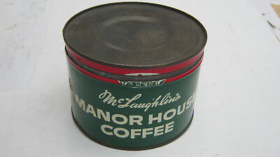 Vintage Keywind McLaughlin's Manor House Coffee Tin Can 1 Pound