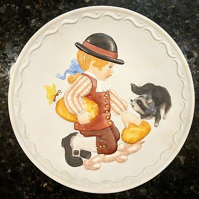 Franklin Mint Collectible Plate Cobblestone Kids 1982: Feeding the Raccoon