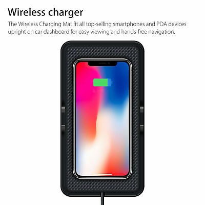 Qi Wireless Charger Car Holder Mount Non-Slip Pad Mat For Samsung S9 S8 iPhone X