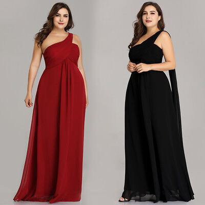 EVER-PRETTY US PLUS Size One Shoulder Holiday Gown Evening Dresses ...